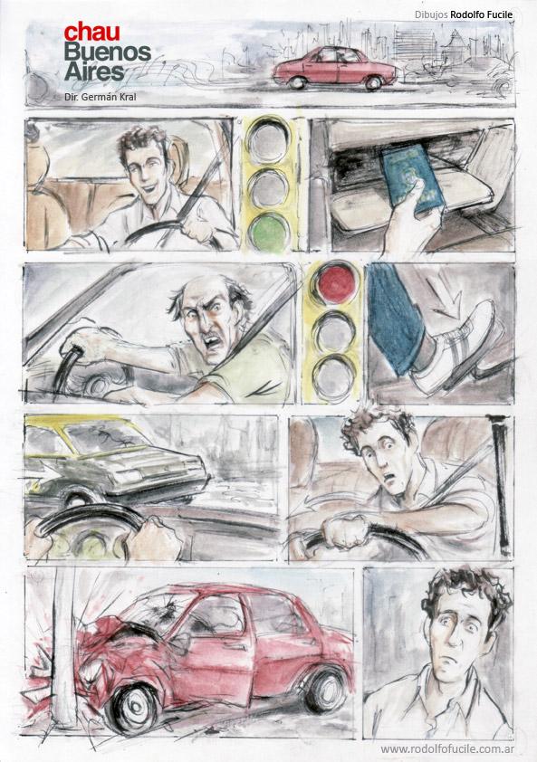 Storyboard-comic de la película Chau Buenos Aires. Dir. Germán Kral.
